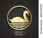 3d golden swan circle logo | Shutterstock .eps vector #586253054