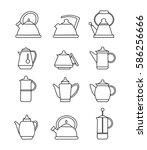 teapots icons. vector... | Shutterstock .eps vector #586256666