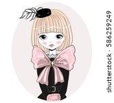 beautiful romantic girl vector... | Shutterstock .eps vector #586259249