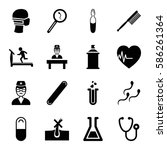 set of 16 medicine filled icons ... | Shutterstock .eps vector #586261364