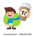 man with coffee. paper cups of... | Shutterstock .eps vector #586262468