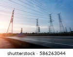 high voltage electric tower in... | Shutterstock . vector #586263044