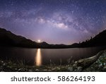 milky way band across sky  star ... | Shutterstock . vector #586264193