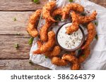 delicious fried shrimp in... | Shutterstock . vector #586264379