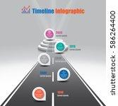 design template  illuminated 3d ... | Shutterstock .eps vector #586264400