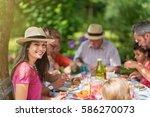 three generation family... | Shutterstock . vector #586270073