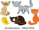 set of cats | Shutterstock .eps vector #58627054