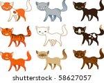 set of cats | Shutterstock .eps vector #58627057
