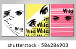 set of stylish posters with eyes | Shutterstock .eps vector #586286903