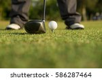 golfer preparation tee off golf ... | Shutterstock . vector #586287464