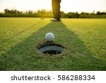 pro golf long putting golf ball ... | Shutterstock . vector #586288334