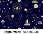 zodiac sky. seamless vector... | Shutterstock .eps vector #586288838