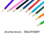 multicolored pencils isolated... | Shutterstock . vector #586294889