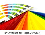 fan deck with corporate colors...   Shutterstock . vector #586299314