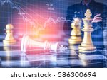 chess game on chess board... | Shutterstock . vector #586300694