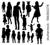 children silhouettes   Shutterstock .eps vector #586302278