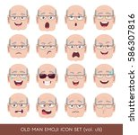 set of senior male facial... | Shutterstock .eps vector #586307816