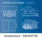 3d rendering of house wireframe ... | Shutterstock .eps vector #586309700