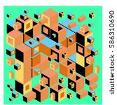 vector colorful isometric cubes ... | Shutterstock .eps vector #586310690