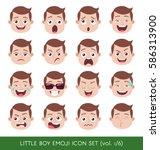 set of kid facial emotions.... | Shutterstock .eps vector #586313900