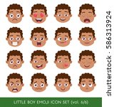 set of kid facial emotions... | Shutterstock .eps vector #586313924