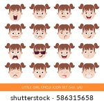 set of kid facial emotions.... | Shutterstock .eps vector #586315658