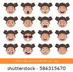 set of kid facial emotions.... | Shutterstock .eps vector #586315670