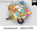 businessman and lady brainstorm ... | Shutterstock .eps vector #586317290