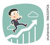 businessman running on raising... | Shutterstock . vector #586320926