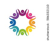abstract people symbol icon... | Shutterstock .eps vector #586332110