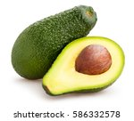 sliced avocado isolated | Shutterstock . vector #586332578