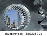 oil and gas refinery seen...   Shutterstock . vector #586335728