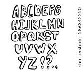 doodle font. vector alphabet.... | Shutterstock .eps vector #586342250