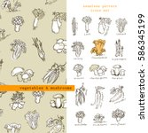vegetables and mushrooms  ... | Shutterstock .eps vector #586345199