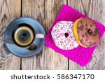 fresh sweet donuts with colored ... | Shutterstock . vector #586347170