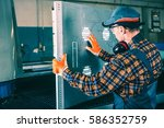 production line supervising by... | Shutterstock . vector #586352759