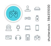 illustration of 12 gadget icons.... | Shutterstock . vector #586355030