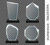 glass transparent trophy awards. | Shutterstock .eps vector #586355594