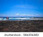 black sand beach on the big... | Shutterstock . vector #586356383