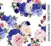 seamless floral pattern with... | Shutterstock . vector #586357040
