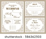 set of wedding cards in retro... | Shutterstock .eps vector #586362503