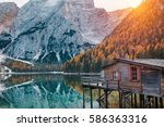 amazing view of lago di braies  ... | Shutterstock . vector #586363316