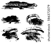 vector set of grunge brush... | Shutterstock .eps vector #586372079