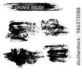 vector set of grunge brush... | Shutterstock .eps vector #586372088