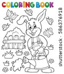 coloring book rabbit gardener... | Shutterstock .eps vector #586376918