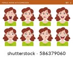 set of female facial emotions.... | Shutterstock .eps vector #586379060