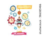 time management retro cartoon... | Shutterstock .eps vector #586385486