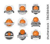 set of emblems basketball... | Shutterstock .eps vector #586386464