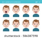 set of kid facial emotions. boy ... | Shutterstock .eps vector #586387598