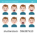 set of kid facial emotions. boy ... | Shutterstock .eps vector #586387610